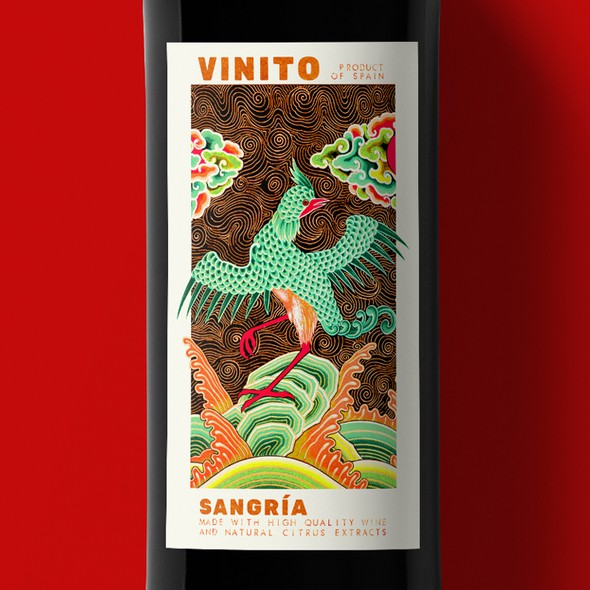 Spanish label with the title 'Sangría label design'