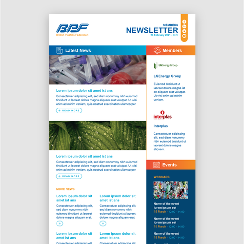 Newsletter design with the title 'Newsletter design'