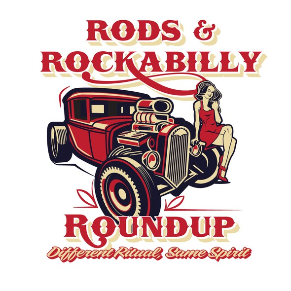 Classic car logo with the title 'Rods and Rockabilly Roundup'