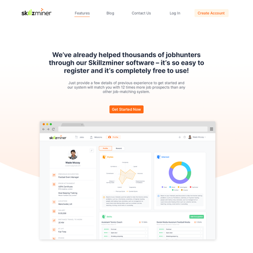 Gradient website with the title 'Skillzminer Website'