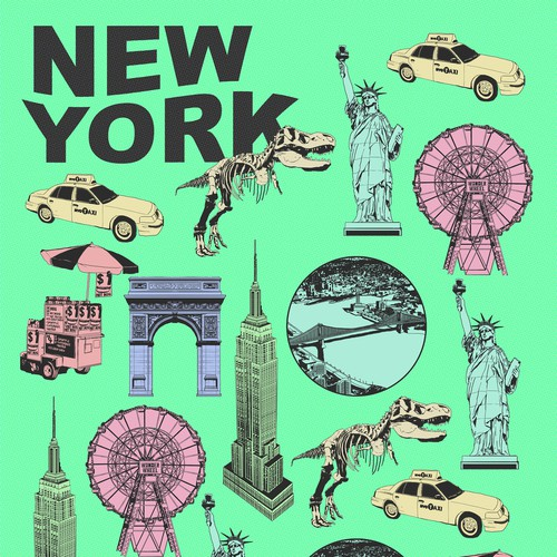 NYC design with the title 'NYC Tourist Attractions Collaged Illustration for Greeting Card'