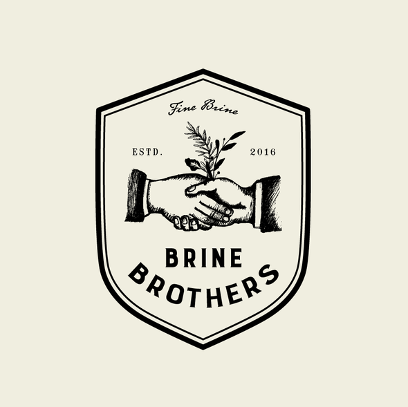 Brother design with the title 'Design a unique brand logo for premium pickle brine drink for Brine Brothers'