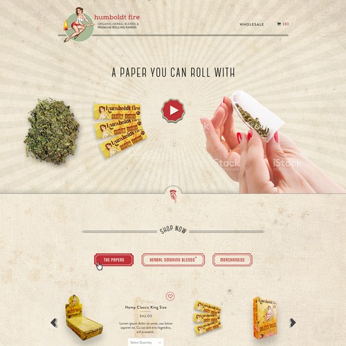 Retro website with the title 'Vintage, Retro and Pin-Up themed web page design for a rolling paper company'