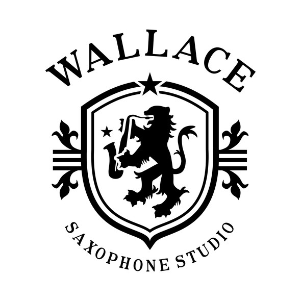 Saxophone design with the title 'Traditional logo for saxophone studio'