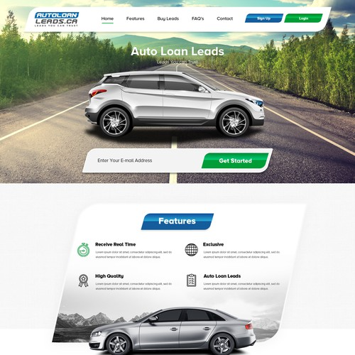 Loan website with the title 'Auto Car Loan'
