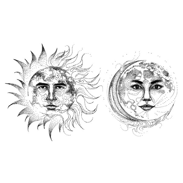 Pointillism design with the title 'Sun and Moon Tattoo Illustration'