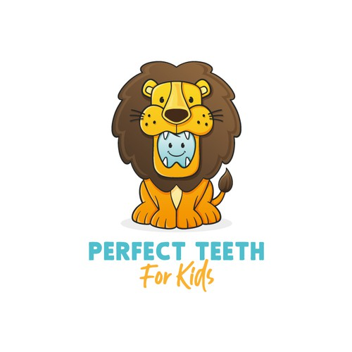 Geometric lion logo with the title 'Kids Dental Lion Logo'