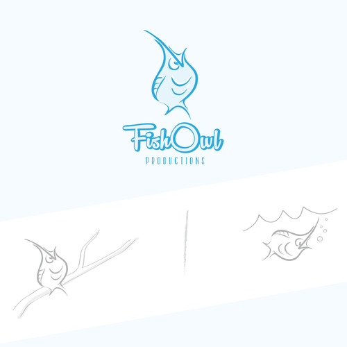 Funny logo with the title 'Create a logo for media company FishOwl'
