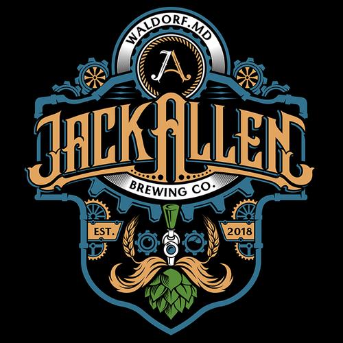 Steampunk logo with the title 'Retro/Steampunk Brewery logo design (Jack Allen Brewing Co.)'