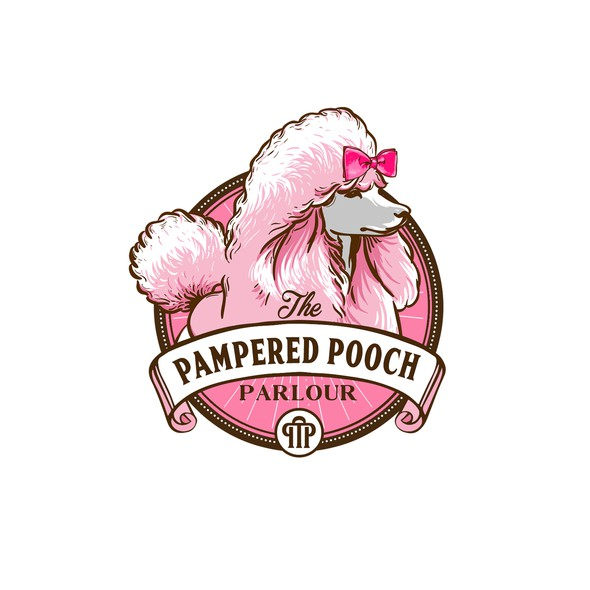 Inspiring logo with the title 'the pampered pooch parlour dog grooming salon'
