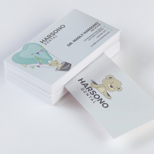 Hot air balloon design with the title 'Identity / Business card design for Harsono Dental'