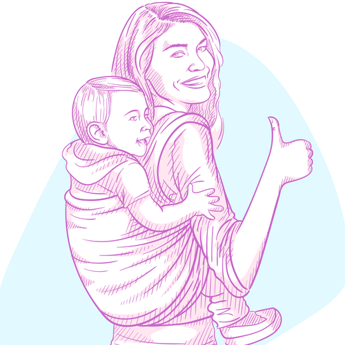 Baby artwork with the title 'Mom and baby in a sling'