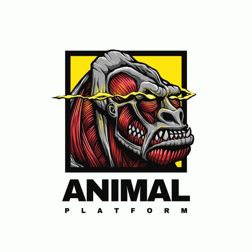 Anime design with the title 'Attack on Titan Meets Gorilla Logo for Fitness Company'