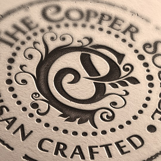 Handmade logo with the title 'Handmade artisan products made from copper'