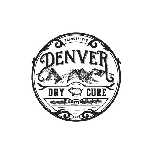 """Rustic logo with the title '""""Denver"""" dry cure'"""