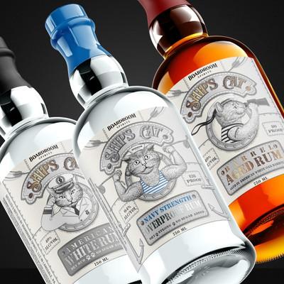 Set of 3 Rum labels