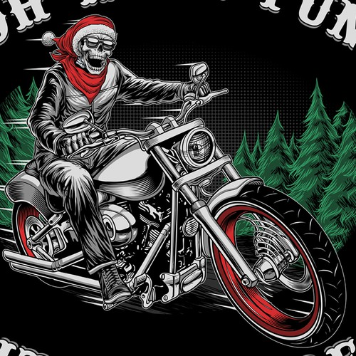 Automotive t-shirt with the title 'Santa skull riding'