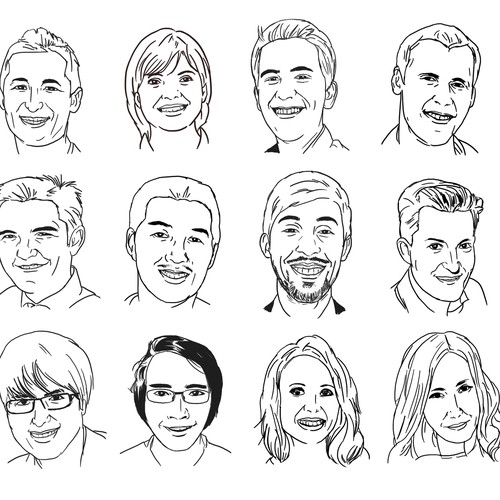 Traditional illustration with the title 'Create 12 digital portrait style line-drawings of Bit Zesty staff members'