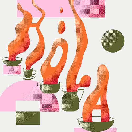 Smoke illustration with the title 'Hola cocinado'