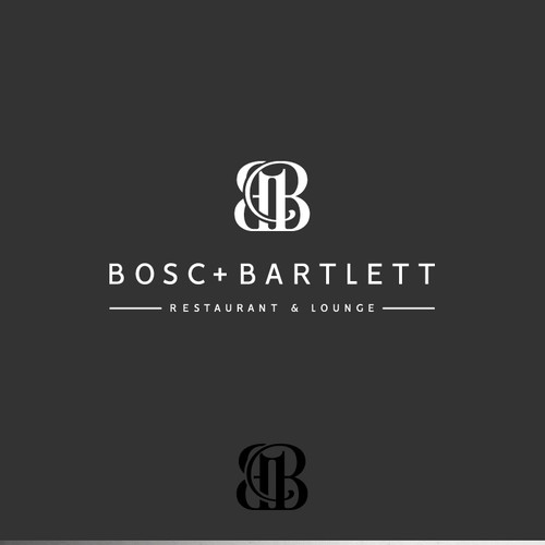 Lounge design with the title 'Bosc + Bartlett - Restaurant & Lounge'