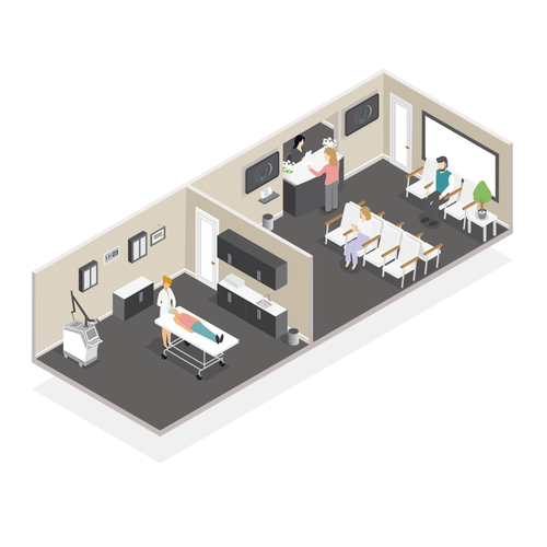 Office artwork with the title 'Isometric office floor'