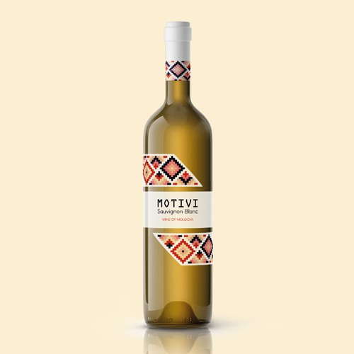 Geometric label with the title 'Moldovan Wine Label Design'