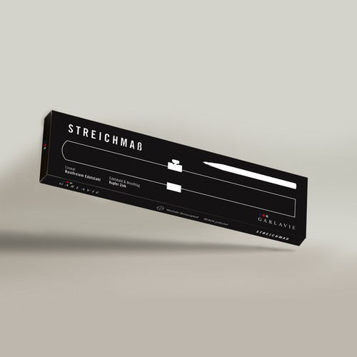 Masculine packaging with the title 'Packaging Design for Streichmaß'
