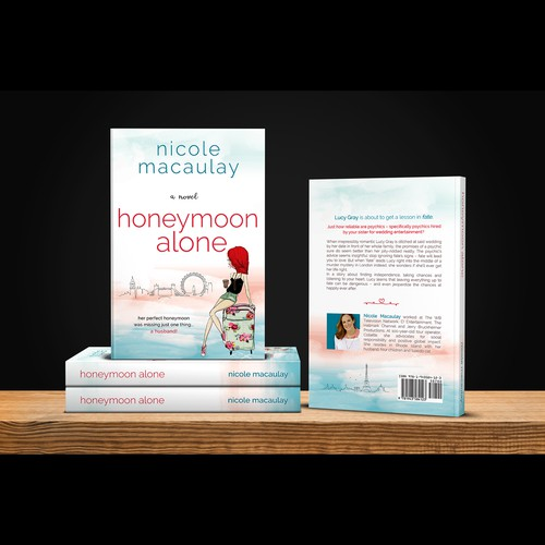 "Chick lit design with the title 'Book cover for ""Honeymoon Alone""'"