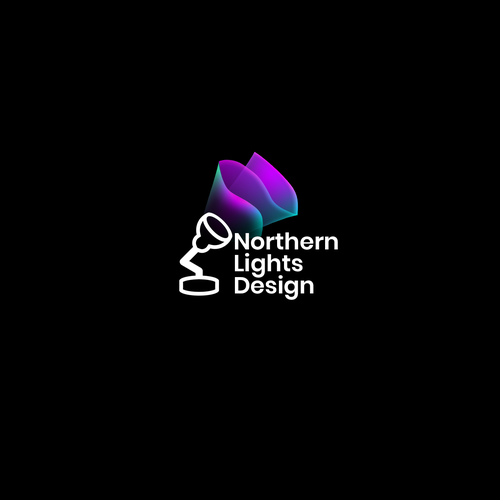 Northern lights design with the title 'Colorful Northern Lights Logo'