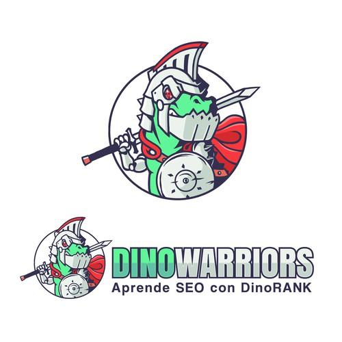 Dinosaur logo with the title 'DinoWarriors'