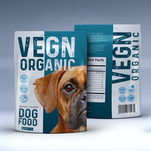 Dog treat packaging with the title 'Animal Food Product Design'