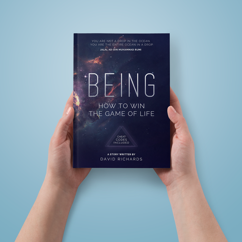 Game book cover with the title 'BE the artist for my new book, BEING: HOW TO WIN THE GAME OF LIFE'