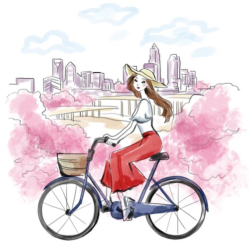 City t-shirt with the title 'Fashion digital watercolor illustration'