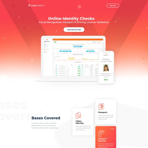 Red and orange design with the title 'Landingpage'