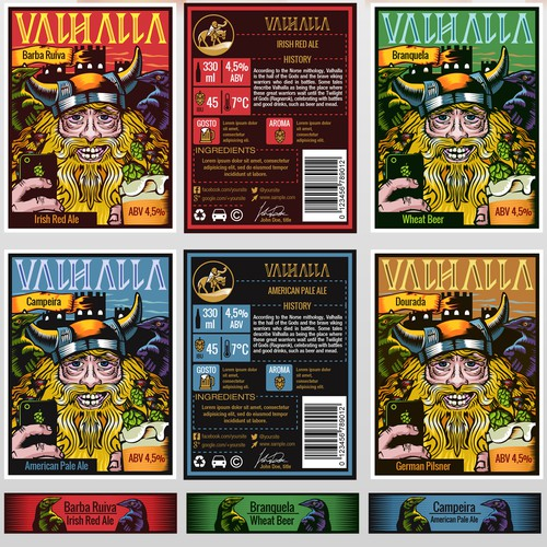 Brazilian design with the title 'Valhalla beer'
