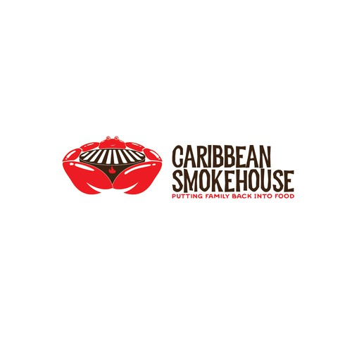 Crab design with the title 'caribbean smoke house'