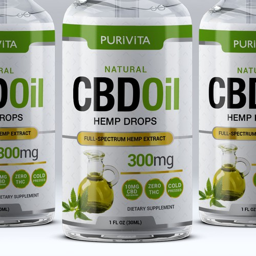 Hemp oil packaging with the title 'Design Modern,Clean,Minimalistic CBD Label'