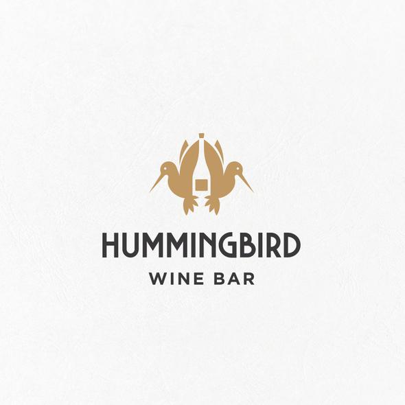 Wine bar logo with the title 'Hummingbird Wine Bar Logo'