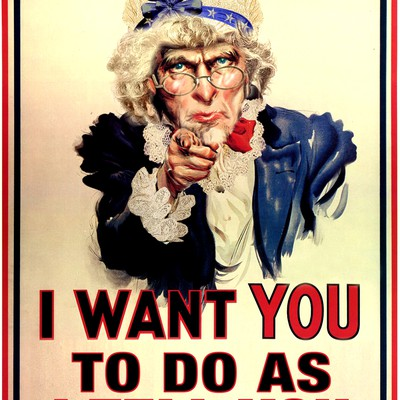 "Photoshop famous Uncle Sam ""I Want You"" poster into ""Auntie Sam Wants You... To Do As You Are Told"""