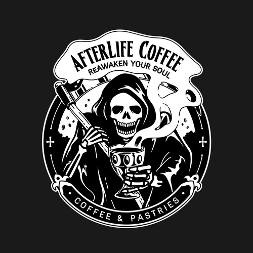 Skeleton logo with the title 'Logo for mobile coffee trailer.'