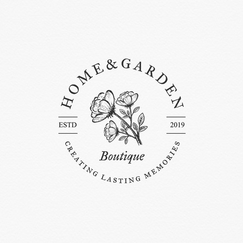 Flower shop logo with the title 'Logo for gift and flower shop: Home & Garden boutique'