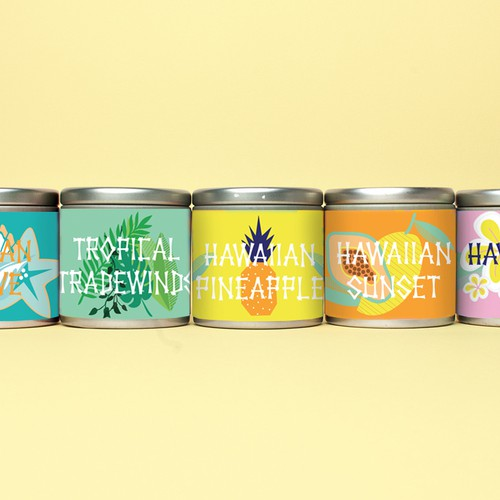 Tin can design with the title 'Hawaiian labels'