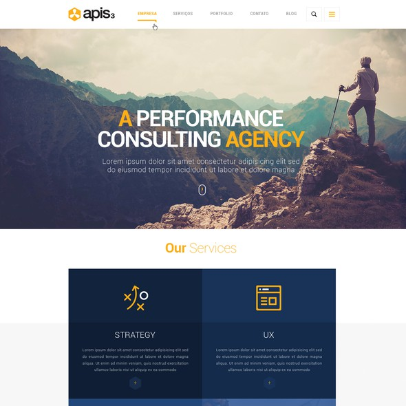 Agency website with the title 'apis3 corporate website design'