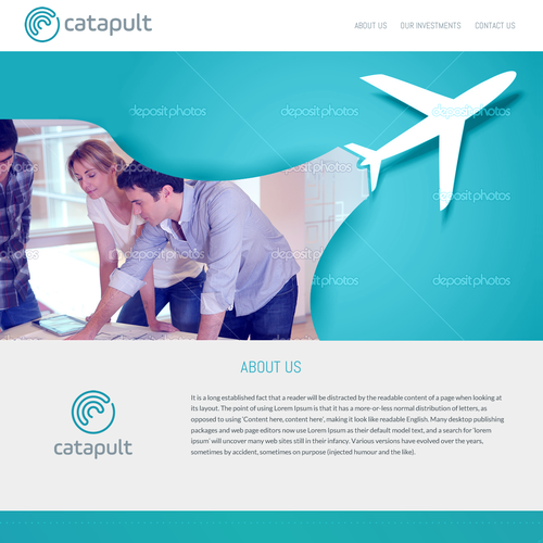 Investment website with the title 'Web Page Design for Venture Capital Firm'