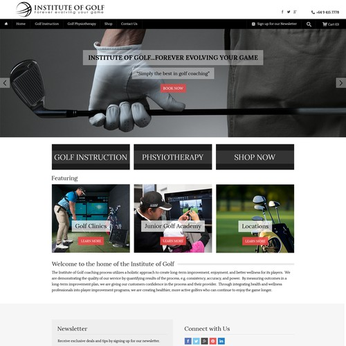 Coaching website with the title 'Landing Page Design for Institute of Golf'