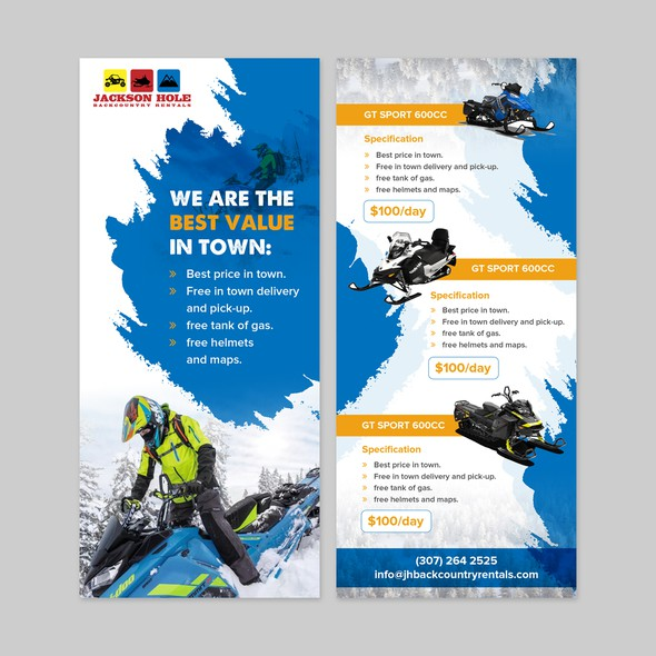 Rack card design with the title 'Colorful rack card design for Jackson Hole'
