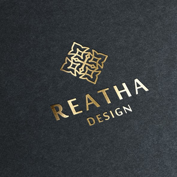 Floral logo with the title 'Logo design for Reatha Design'