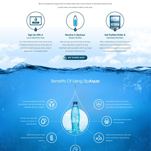 Aqua design with the title 'Revolutionary Water Concept Company'