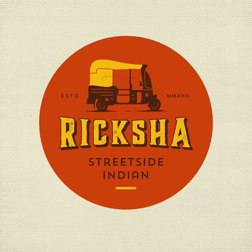 Hipster logo with the title 'RICKSHAW'