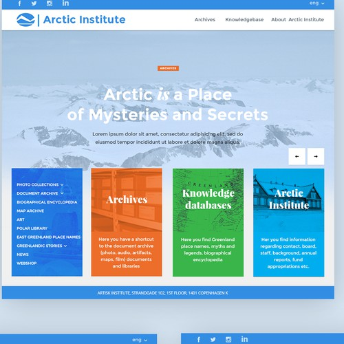 Education website with the title 'The Arctic Institute  new webpage Subtitle'